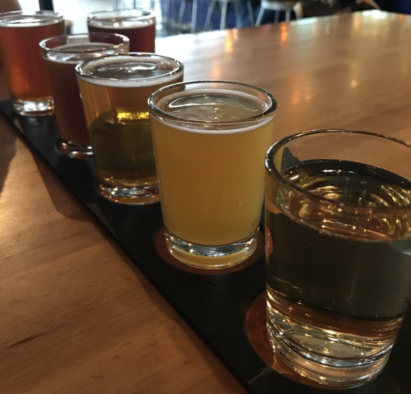 Flight of beers at Canal Park Brewing Company.